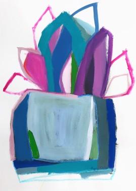 'Blue Pot in Garden'